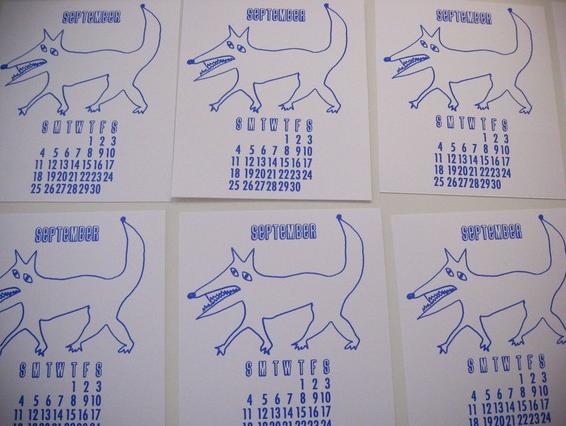 calendar september 2011. Letterpress 2011 Calendar