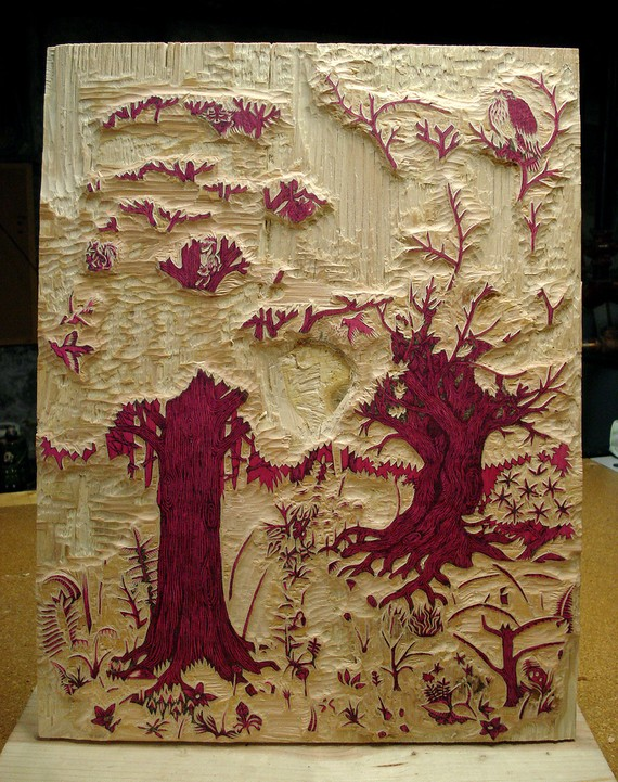 Forest Color Woodcut Print