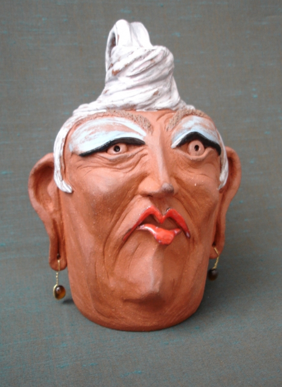 Face clay pot sculptures by debbie englund art nectar