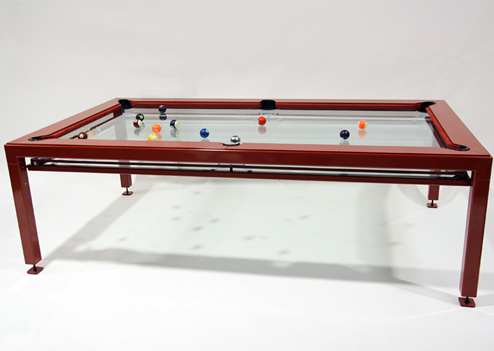 Design nottage g 4 glass top pool table art nectar for Table design latex